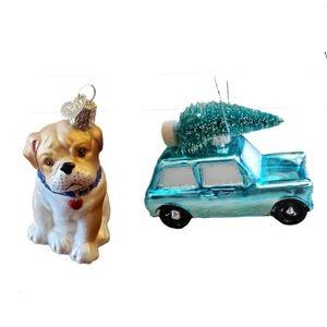 Old World Christmas Ornaments Bulldog & Car